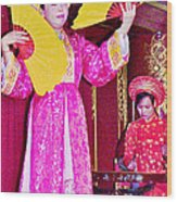 Fan Dancer And Monochord Player In Court Music Show At Citadel Of Nguyen Dynasty In Hue-vietnam Wood Print