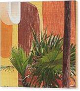 Fan Palm On Patio Wood Print