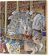 Fanciful Carousel Ponies Wood Print