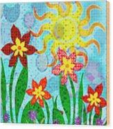 Fanciful Flowers Wood Print by Shawna Rowe