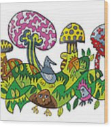 Fanciful Mushroom Nature Doodle Wood Print