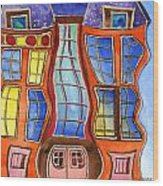 Fanciful Wavy House Painting Wood Print