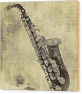 Fancy Antique Saxophone In Pastel Wood Print