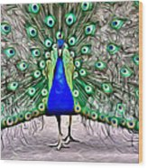 Fanning Peacock Wood Print