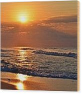 Fantastic Sunrise Colors Clouds Rays And Waves On Navarre Beach Wood Print