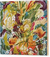 Fantasy Floral 1 Wood Print by Carole Goldman