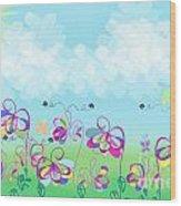 Fantasy Flower Garden - Childrens Digital Art Wood Print