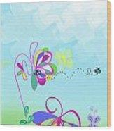 Fantasy Garden Chisdren's Art - Side Panel 2 Wood Print