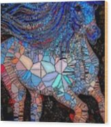 Fantasy Horse Mosaic Blue Wood Print