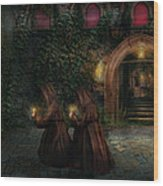 Fantasy - Into The Night Wood Print by Mike Savad