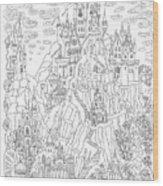 Fantasy Landscape. Fairy Tale Castle On Wood Print