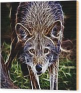 Fantasy Red Wolf Wood Print