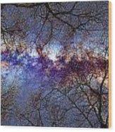 Fantasy Stars Milkyway Through The Trees Wood Print