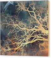 Seagull Gothic Fantasy Surreal Trees And Seagull Flying Wood Print