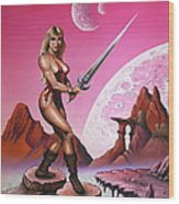 Fantasy Warrior Princess Wood Print