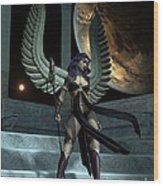 Fantasy Winged Female Warrior Wood Print