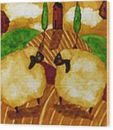 Farm Animals Countryside Sheep Italian Whimsical Folk Debi Hubbs Children Art Wood Print