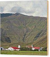 Farm At Eyjafjallajokull Glacier. Wood Print