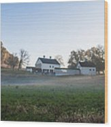 Farm At Valley Forge In Morning Wood Print