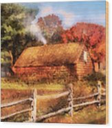 Farm - Barn - Our Cabin Wood Print by Mike Savad