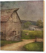 Farm - Barn - The Old Gray Barn  Wood Print