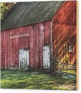 Farm - Barn - The Old Red Barn Wood Print