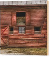 Farm - Barn - Visiting The Farm Wood Print by Mike Savad