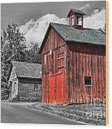 Farm - Barn - Weathered Red Barn Wood Print