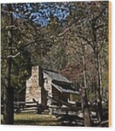 Farm Cabin Cades Cove Tennessee Wood Print
