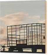 Farm Equipment At Sunset Wood Print