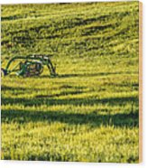 Farm Equipment In A Field Wood Print