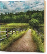 Farm - Fence - Every Journey Starts With A Path  Wood Print
