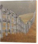 Farm Fence On Foggy Autumn Day Wood Print