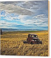 Farm Field Pickup Wood Print