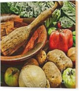 Farm Fresh Food In A Country Kitchen Wood Print