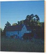 Farm Home At Dusk Wood Print