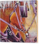 Farm Horses Wood Print by Robert Hooper