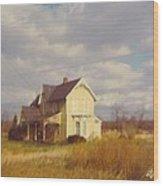 Farm House And Landscape Wood Print