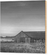 Farm In Black And White Wood Print