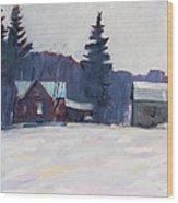 Farm In The Snow Wood Print