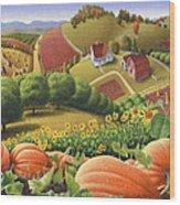 Farm Landscape - Autumn Rural Country Pumpkins Folk Art - Appalachian Americana - Fall Pumpkin Patch Wood Print