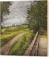 Farm - Landscape - Jersey Crops Wood Print