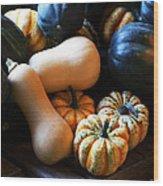 Farm Market Acorn Butternut And Carnival Squash Michigan Usa Wood Print