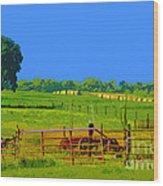 Farm Photo Digital Paint Style Wood Print
