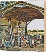Farm Shed Digital Watercolor Wood Print