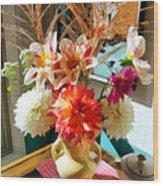 Farm Table Bouquet Wood Print