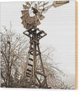 Farm Windmill In Sepia Wood Print