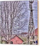 Farm - Windmill - Red Barn Farm - Missouri Wood Print