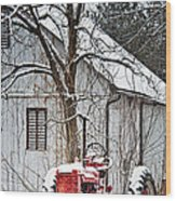 Farmall Tractor In Winter Wood Print by Timothy Flanigan