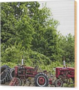 Farmall Tractors All In A Row Wood Print